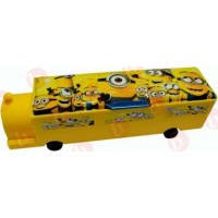 biZyug Train Shape Minions Pencil Box with sharpener and wheel for kids