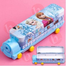 biZyug Train Shape Frozen Pencil Box with sharpener and wheel for girls