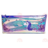 biZyug Unicorn Multipurpose Holographic Pencil Pouch / Case with filled Sequin Water for Girl | Pink