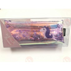biZyug Unicorn Multipurpose Holographic Pencil Pouch / Case with filled Sequin Water for Girl | Purple