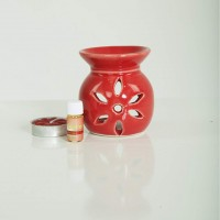 biZyug Ceramic Oil Burner with Tealight and 5ml Rose Aroma Oil Gift Pack