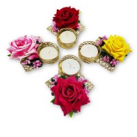 biZyug Big Rose Flower Tealight (Pack of 4)