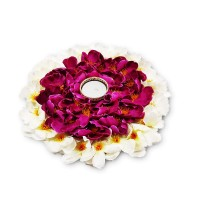biZyug T-Light Floral Platter with Candle for Home Decoration (Pack of 2)