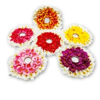 biZyug T-Light Floral Platter with Candle for Home Decoration (Pack of 6)