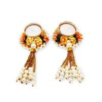 biZyug T-Light Floral Moti Chunri for Diwali Decoration (Pack of 6)