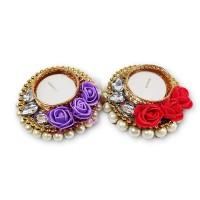 biZyug T-Light Floral and Pearl for Diwali Decoration (Pack of 2)