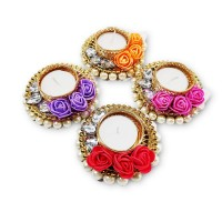 biZyug T-Light Floral and Pearl for Diwali Decoration (Pack of 4)