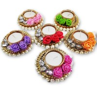 biZyug T-Light Floral and Pearl for Diwali Decoration (Pack of 6)