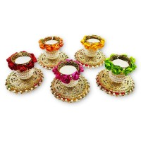 biZyug Floral Matki Tealight (Pack of 4)