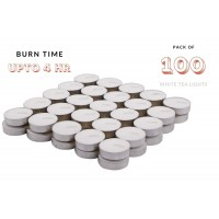 biZyug Unscented Tea Light Candles (1.5 Hour Burn time, White, 10 Gram, Pack of 100)
