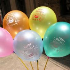 Happy Birthday Printed Metallic Balloon (Pack of 50 pcs)