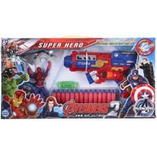 biZyug Avenger Soft Bullet Blaster Gun Toy and Spiderman with 14 Darts & Dartboard