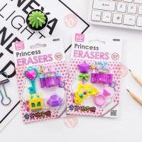 biZyug 3D Princess Erasers for Birthday Return Gift (Pack of 2 pkt)