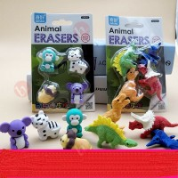 biZyug 3D Animal Eraser Dinosaur & Wild Animal for Birthday Return Gift | Pack of 2 pkt
