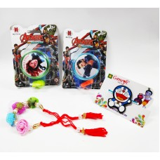 Doraemon Kid Rakhi and Floral Bracelet with Avengers Metal YOYO Gift Combo