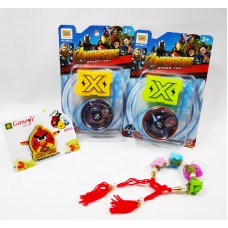 Angry Bird Kid Rakhi and Floral Bracelet with Beyblade Gift Combo