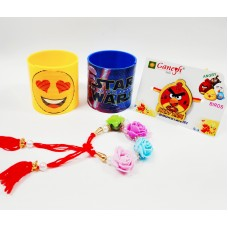 Angry Bird Kid Rakhi & Floral Bracelet with Character Magic Spring Gift Combo