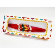 biZyug Multicolour Designer Dora Rakhi Set for Bhai |Free Roli Chawal Bottles | Rakhi Combo of 12
