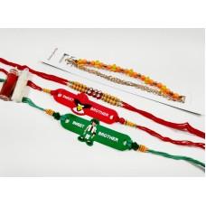 biZyug Designer Rakhi for Bhai | Bracelet for Bhabhi | Kids Rakhi| Free Roli Chawal Bottles | Rakhi Combo of 4