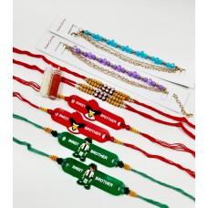 biZyug Designer Rakhi for Bhai | Bracelet for Bhabhi | Kids Rakhi | Free Roli Chawal Bottles | Rakhi Combo of 8