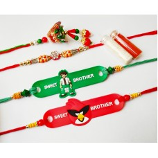 Desginer Rakhi for Bhai | Lumba Rakhi for Bhabhi| Kids Rakhi | Free Roli Chawal Bottles | Rakhi Combo of 4